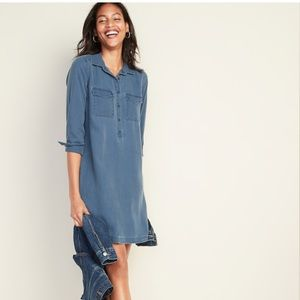 Old Navy Faded Twill Shirt Dress